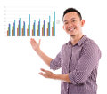 Asian showing business chart Royalty Free Stock Photo