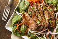 Asian sliced beef salad with spinach and carrots Stock Images