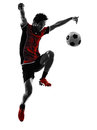 Asian soccer player young man silhouette Royalty Free Stock Image