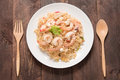 Asian spicy seafood noodle yum noodle seafood Royalty Free Stock Photography