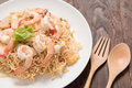 Asian spicy seafood noodle yum noodle seafood Stock Image