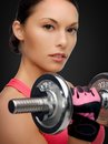 Asian sporty woman with heavy dumbbell sport fitness and healthcare concept beautiful Royalty Free Stock Photo