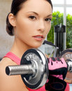 Asian sporty woman with heavy dumbbell sport fitness and healthcare concept beautiful Stock Photos