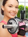 Asian sporty woman with heavy dumbbell sport fitness and healthcare concept beautiful Stock Photo
