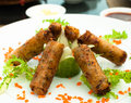 Asian spring rolls for lunch Royalty Free Stock Photo