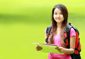 Asian student smiling on park Royalty Free Stock Photo
