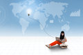 Asian student using laptop on world map background female is and light bulb top Stock Photo