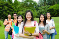 Asian students group of smiling Royalty Free Stock Photo