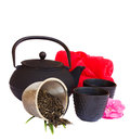 Asian tea set with raw tea Royalty Free Stock Images