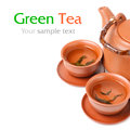 Asian tea set  with sample text Royalty Free Stock Images