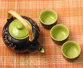 Asian tea set served on a bamboo place mat Royalty Free Stock Photography