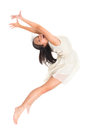 Asian teen contemporary dancer modern young poses in front of the studio background full length white Royalty Free Stock Photos