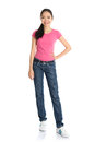 Asian teen full body girl with pink shirt and jeans standing isolated on white background Stock Photos