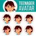 Asian Teen Girl Avatar Set Vector. Face Emotions. Expression, Positive Person. Beauty, Lifestyle. Cartoon Head