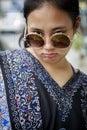 Asian teenager wearing fashion sun glasses Royalty Free Stock Photo