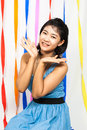 Asian thai girl surprise and cute Stock Photos