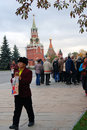 Asian tourists in Moscow Kremlin. Color photo.