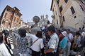 Asian tourists at Piazza Spagna in Rome, Italy. Royalty Free Stock Photos