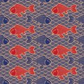 Asian traditional ornament. Catfish and waves. Dark blue and gold colors. Seamless pattern. Nautical oriental background. Royalty Free Stock Photo