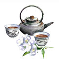 Asian traditional teapot with cups and jasmine. Watercolor