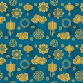 Asian vector decoration. Chinese and japanese motif seamless pattern for silk textile