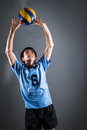 Asian volleyball athlete in action Royalty Free Stock Photo