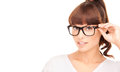 Asian woman adjusting eyeglasses happiness health and vision concept smiling Stock Photography