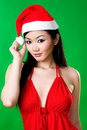 Asian woman as santarina Royalty Free Stock Photo