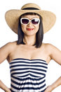 Asian Woman in Beachwear Royalty Free Stock Photography