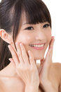 Asian woman beauty face closeup portrait Royalty Free Stock Photography