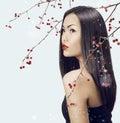 Asian woman beauty face closeup portrait. Beautiful attractive g Royalty Free Stock Photo