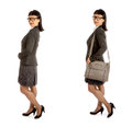 Asian woman in black eye glass frame and office outfit glasses isolated on white Royalty Free Stock Photos