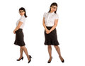 Asian woman in black eye glass frame and office outfit glasses isolated on white Royalty Free Stock Image