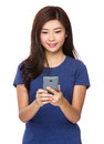 Asian woman check the email message Royalty Free Stock Photo