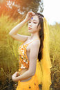 Asian woman dressed imitate persian dancers dancers,dancing outdoors,sexy girl Stock Photography