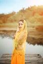 Asian woman dressed imitate persian dancers dancers,dancing outdoors,sexy girl Royalty Free Stock Image