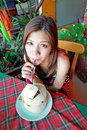 Asian woman drinking refreshment of young coconut Royalty Free Stock Photos