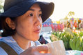 Asian woman drinking supplementary food beverage facial acne and
