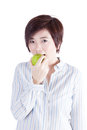 Asian woman eating apple Royalty Free Stock Photo