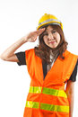 Asian woman engineer with isolated on white background Royalty Free Stock Photography
