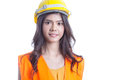 Asian woman engineer standing on a white background Royalty Free Stock Image