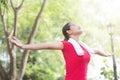 Asian Woman Enjoying Nature Af...
