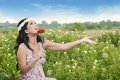Asian woman enjoying Summer Royalty Free Stock Images