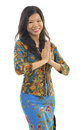 Asian woman gestures welcoming Royalty Free Stock Photo