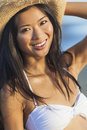 Asian Woman Girl Bikini Cowboy Hat At Beach Royalty Free Stock Photo