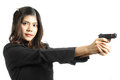 Asian woman with the gun on her hand isolate white background Royalty Free Stock Image