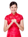Asian woman with hand congratulation gesture isolated on white background Royalty Free Stock Photos