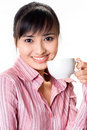 Asian woman have a tea break Stock Image
