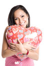 Asian woman with heart-shaped balloon Royalty Free Stock Photos