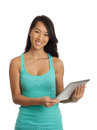 Asian Woman holding digital tablet Stock Photo